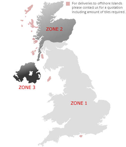 Delivery Zone Map for UK and Northern Ireland