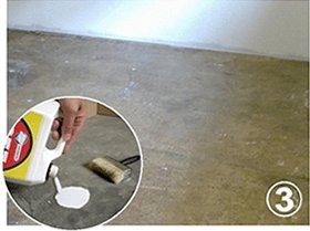 Applying carpet tile adhesive to floor