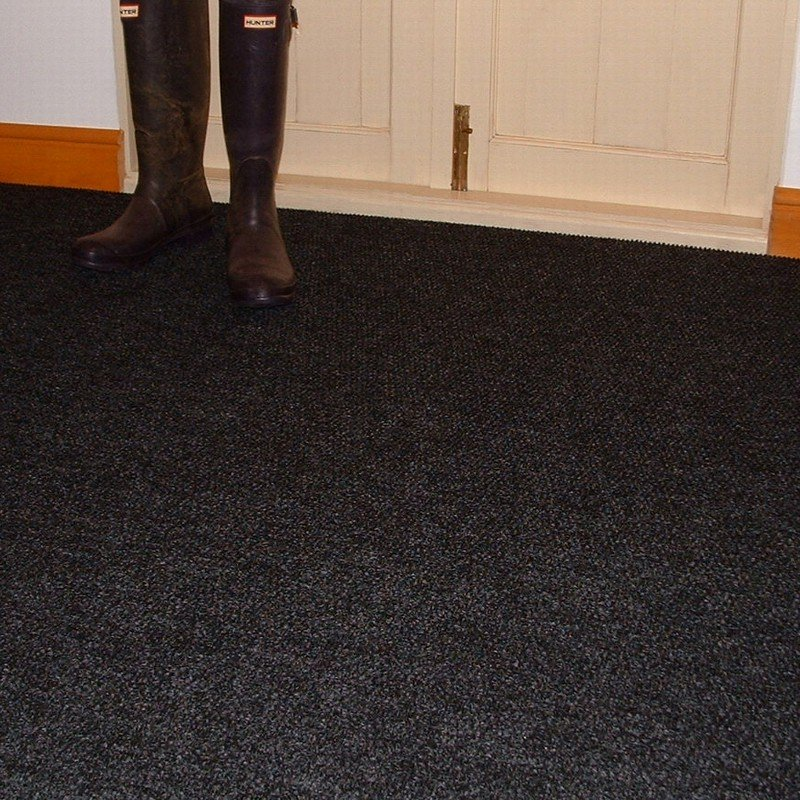 Crystal Black Carpet Tiles Durable Textured Flooring