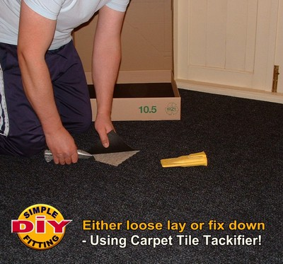 Diamond Black Carpet Tile Hard Wearing Pile Structure