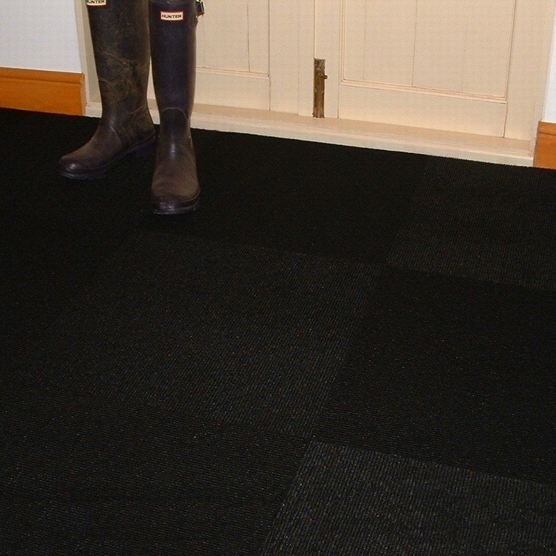 Jet Black Carpet Tiles Hard Wearing Black Carpet Tile